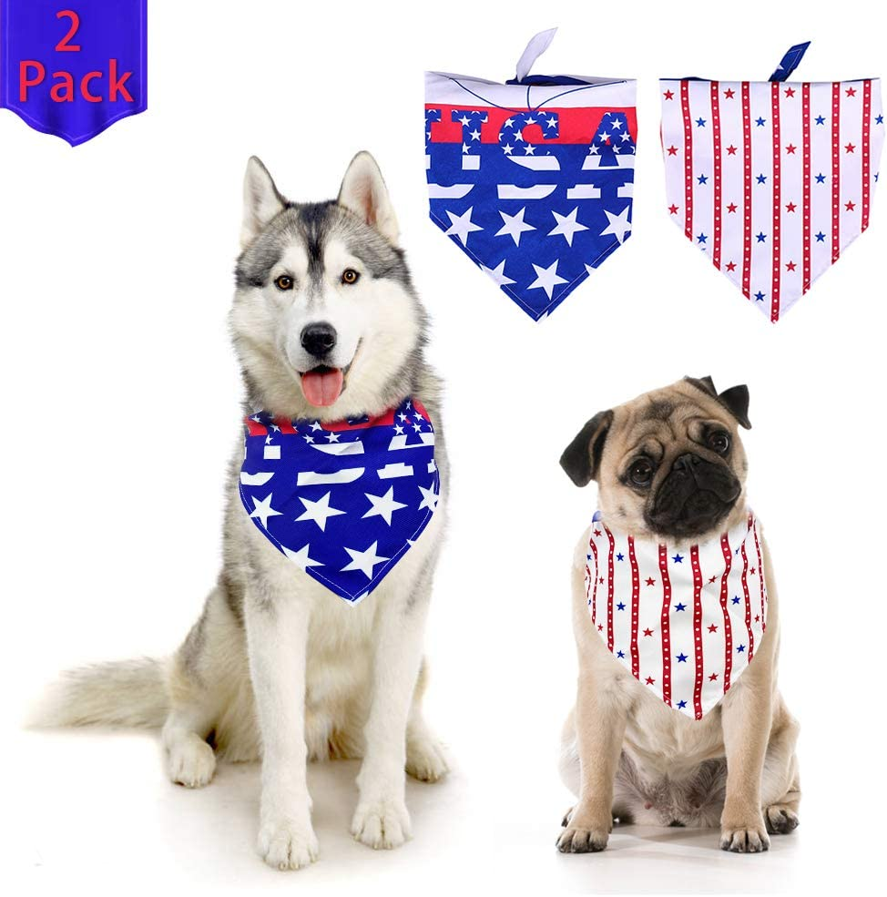 Dog Bandanas 2 Pack of American Flag Dog Bandana Triangle Dog Bib,Suitable for Small and Medium Dogs and Pet Cats