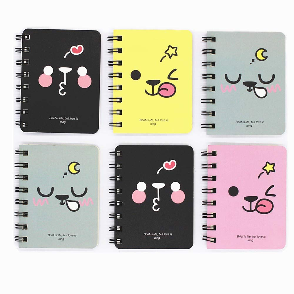 TANG SONG 6Pack 3.1''x4.1'' Narrow Ruled Wirebound Memo Book, Top Bound Memo Books, Mini Notebooks, Spiral Notebooks, Mini Pocket Memo Pads, For School Supplies, Office Desk(80 Pages Each) by TANG SONG (Image #1)