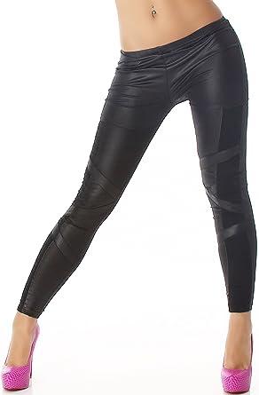 CQ Q.C. Damen Schwarze Wet-Look Leggings mit Musterung, Einsätzen oder  Spitze (34-40)  Amazon.de  Bekleidung db34ee3b59