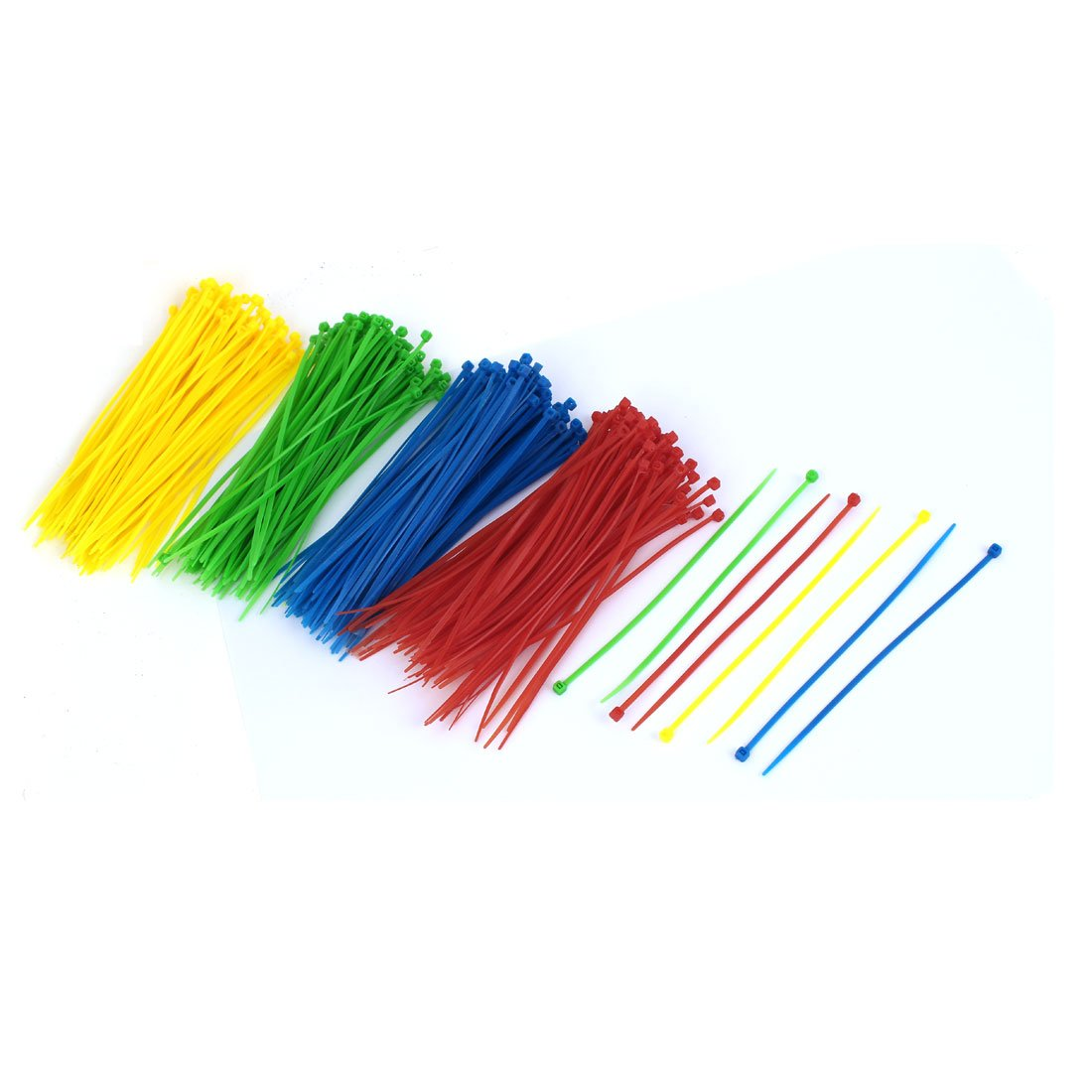 Sourcingmap-150mm de largo 3mm de ancho bridas para cable wrap con cremallera, color rojo, azul, verde, amarillo 400pcs a16033100ux0138
