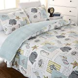 MAXYOYO Sea Shells Cotton Quilt Set 3 Piece,Starfish Quilt Throw for Kids,Cotton Bedspreads Full/Queen Size