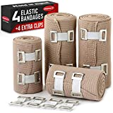 Premium Elastic Bandage Wrap - 4 Pack + 4 Extra Clips - Durable Compression Bandage (2X - 3 inch, 4X - 4 inch Rolls) Stretches up to 15ft in Length
