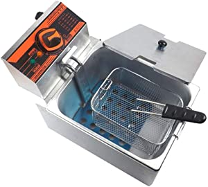 N / A Electric Deep Fryer, Stainless Steel, Easy to Clean, Oil Filtration, Commercial Frying Machine Chicken Chips French, for Restaurant.10.611.413.3in