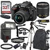 Nikon D5600 24.2 MP DSLR Camera (Black) with AF-P DX NIKKOR 18-55mm f/3.5-5.6G VR Lens Bundle includes 32GB Memory + TTL Flash + Deluxe Backpack + Professional Accessories