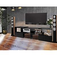 Artiss Entertainment Unit 93cm to 175cm Length Ajustable Wooden Corner TV Stand Cabinets - Black