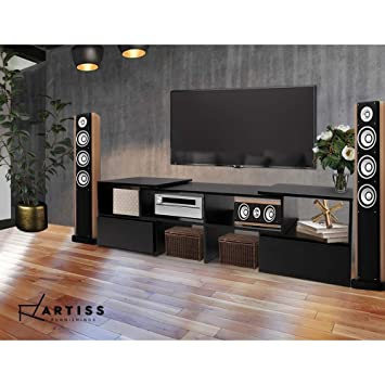 ad5b0edae8 Artiss Entertainment Unit Ajustable Wooden Corner TV Stand Cabinets - Black