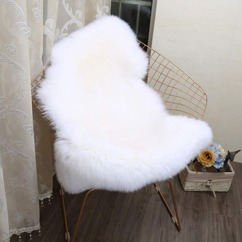 Lee D.Martin Super Soft Fluffy Shaggy Home Decor Faux Sheepskin Silky Rug for Bedroom Floor Sofa Chair Cushion, Chair Cover Seat Pad Couch Pad Area Carpet,2'x3',Ivory White