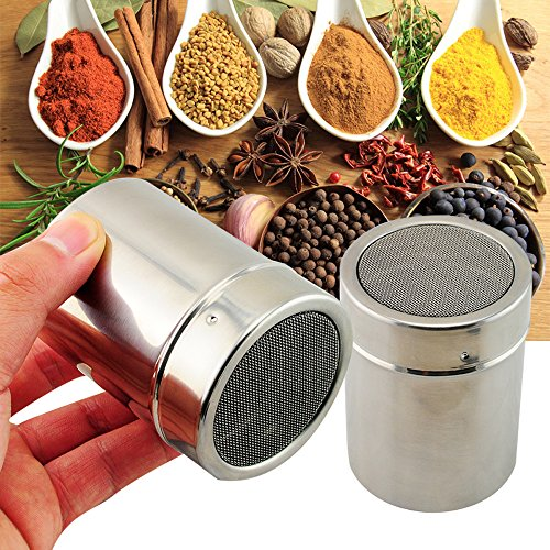 Stainless Chocolate Fine Mesh Sifter Shaker Dredge Icing Sugar Powder Cocoa Flour Coffee Sifter - 7