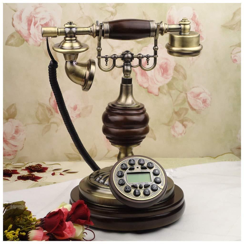 Telephones Solid Wood Telephone Blu-ray Hands-Free Bronze Antique Retro Creative Classical Telephone Landline Retro Phone (Size : A)