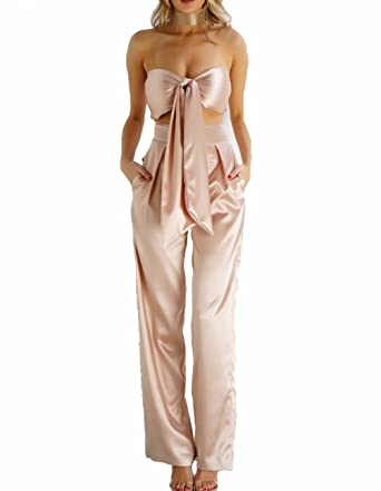TT Global Femme Sexy Épaule Nu Volants Combinaison Pantalon Longue Jumpsuit  Taille Empire,Femme Vintage 71dcfdcb84be