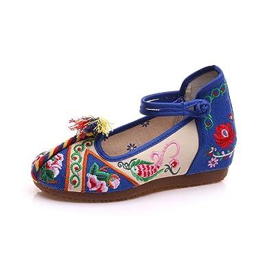 KIKIGOAL Neu Espadrilles Bestickte Schuhe Für Damen mit Stickerei Nationaler Stil Espadrilles (39, Blau)