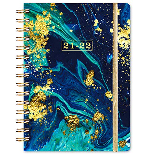 "2021-2022 Planner - 2021-2022 Weekly & Monthly Planner with Monthly Tabs, Jul 2021 - Jun 2022, 8.4"" x 6.3"", Flexible Hardcover, Strong Binding, Thick Paper, Back Pocket, Elastic Closure, Dark Blue"