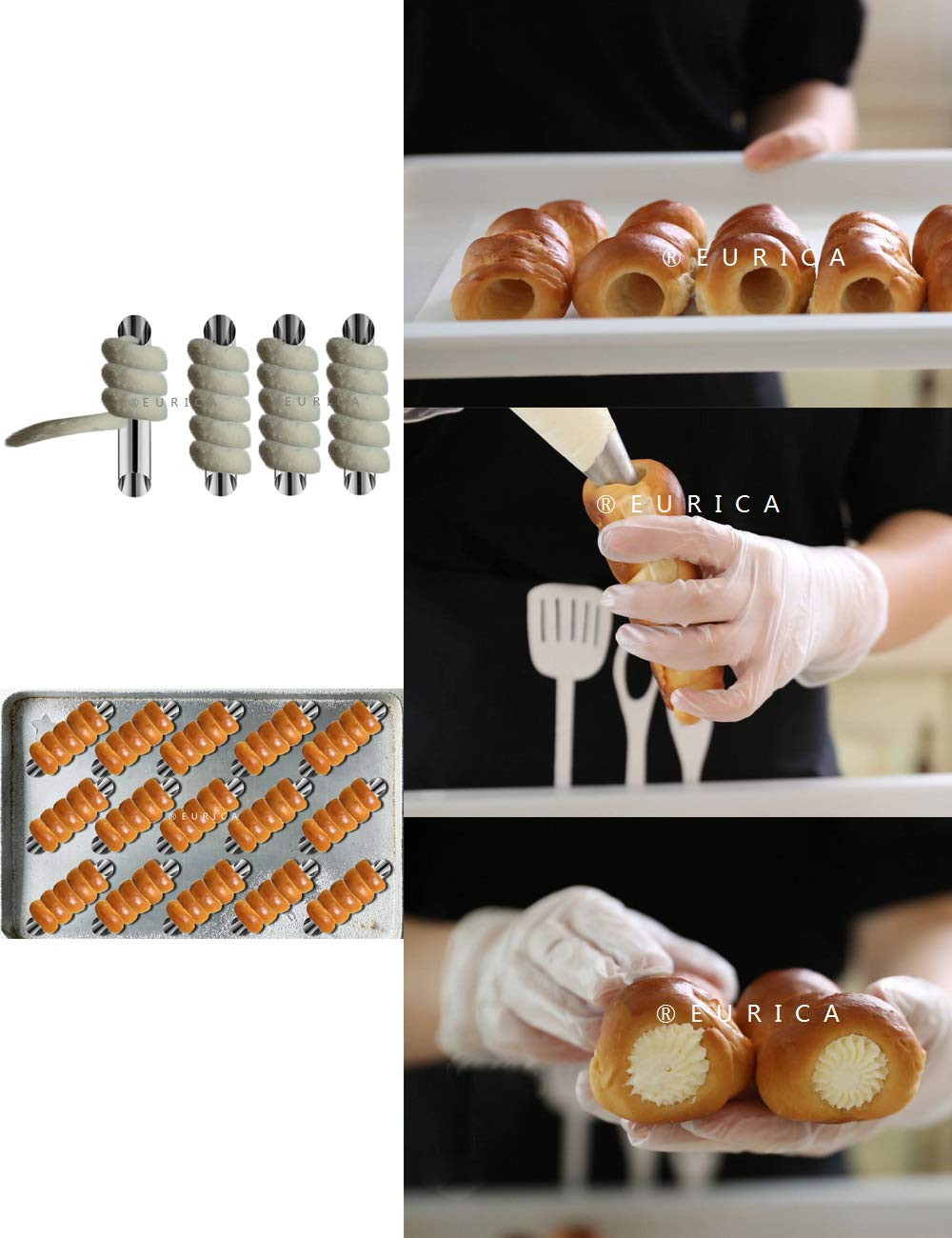 Hemoton 6pcs Cannoli Tubes Stainless Steel Croissant Maker Cannoli Forms Bakeware Pastry Molds for Shell Cream Rolls