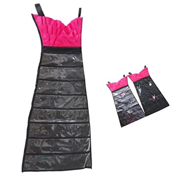 Amazoncom Rimobul Dress Hanging Jewelry Organizer PinkBlack Beauty