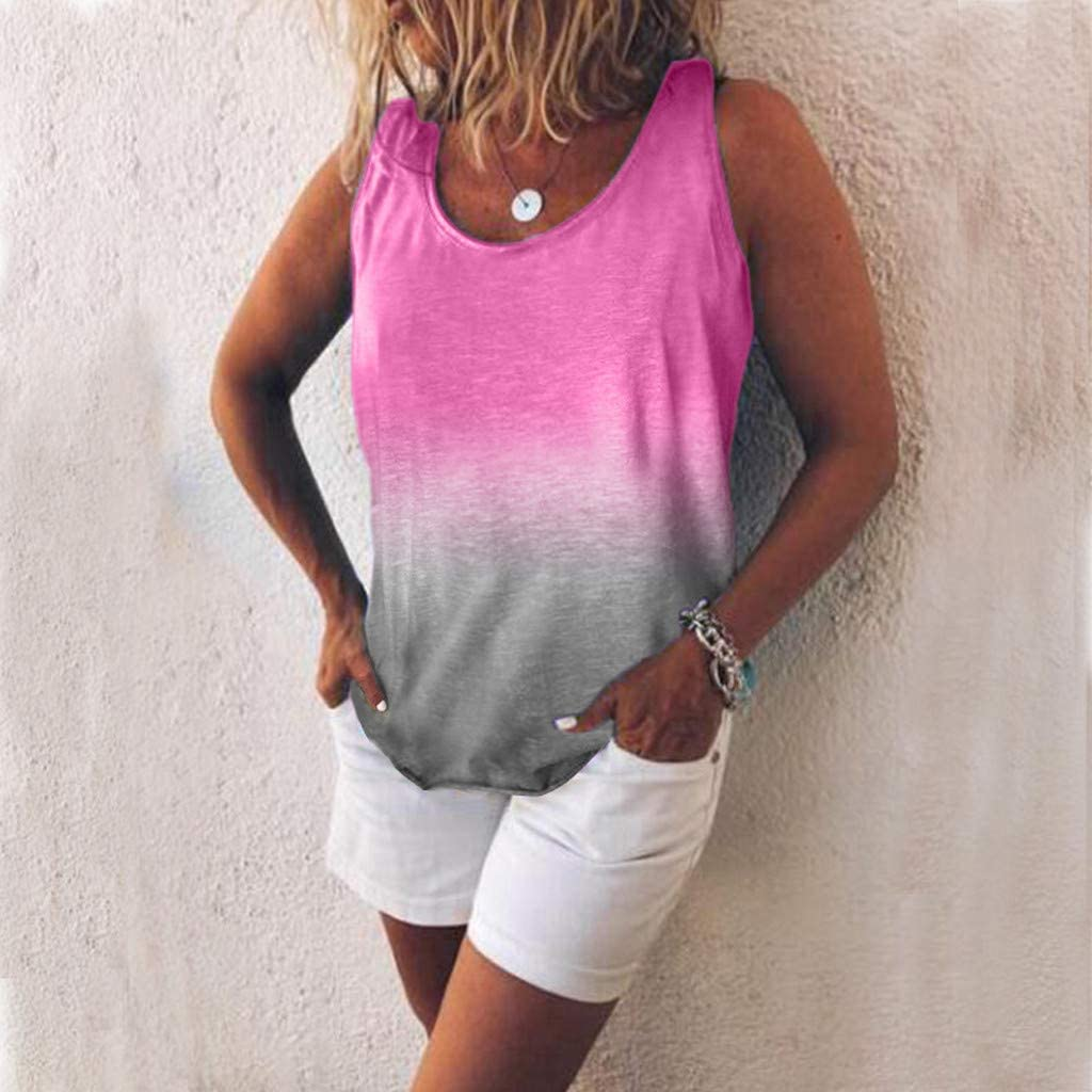 pitashe Womens Tank Top Summer Casual Gradient Color Sleeveless T-Shirt Blouse Tops Ladies Holiday Beach Vintage O-neck Plus Size Loose Oversized Blouse Tunic Top T-Shirt