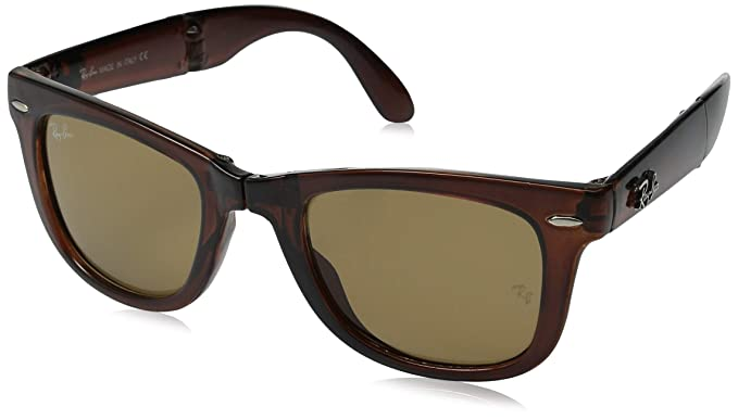3de86b101b Ray-Ban Men's Folding Wayfarer Non-Polarized Square Sunglasses LIGHT HAVANA  54 mm