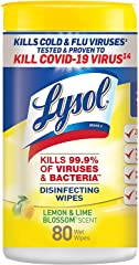 Lysol Disinfectant Wipes, Multi-Surface Antibacterial Cleaning Wipes, For Disinfecting and Cleaning, Lemon and Lime Blossom,