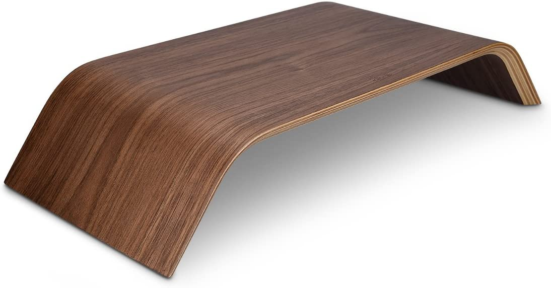 kalibri Wood Monitor Stand Riser - Computer Desk Holder Desktop Dock Wooden Mount Display for PC TV Screen Notebook Laptop - Walnut