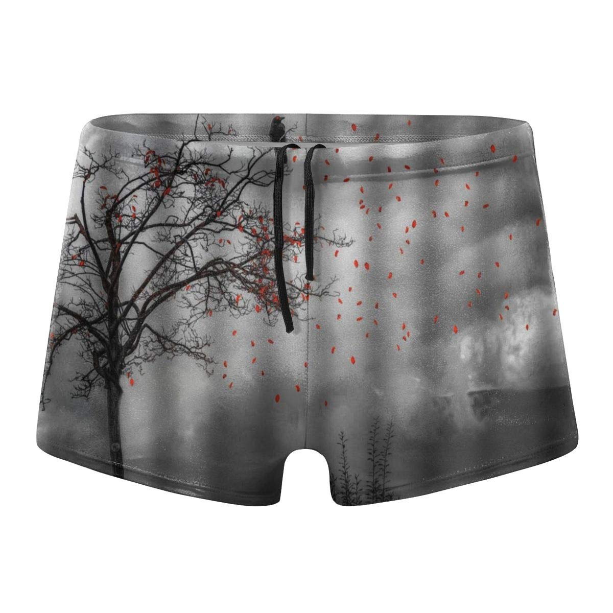 349tg1u Tree and Bird Fantasy Black White Mens Swim Trunks Shorts Athletic Swimwear Briefs Boardshorts