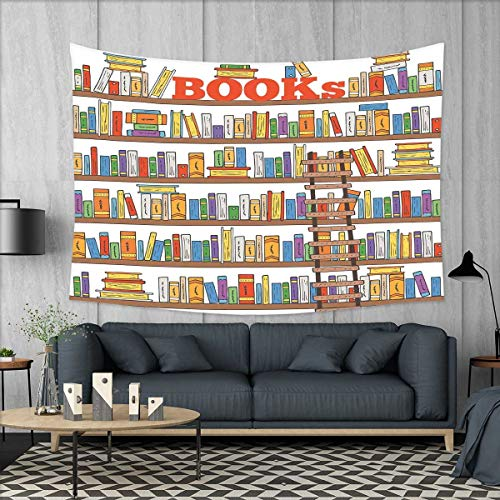 - smallbeefly Modern Tapestry Table Cover Bedspread Beach Towel Library Bookshelf with A Ladder School Education Campus Life Caricature Illustration Dorm Decor 71