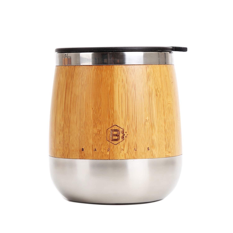 Baonus オリジナル バンブー ステムレス ステンレススチール 二重壁 断熱 タンブラー カップ ワイン ビール コーヒー コーラ フルーツ ジュース シャンパン ソーダ 14オンス B07LDPJK1C
