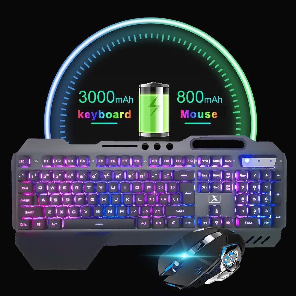 souris 2400 DPI /à 6 boutons Ensemble clavier et souris sans fil rechargeables /à sensation m/écanique 2,4G clavier de jeu /étanche r/étro-/éclair/é /à LED capacit/é de 3 000 mAh