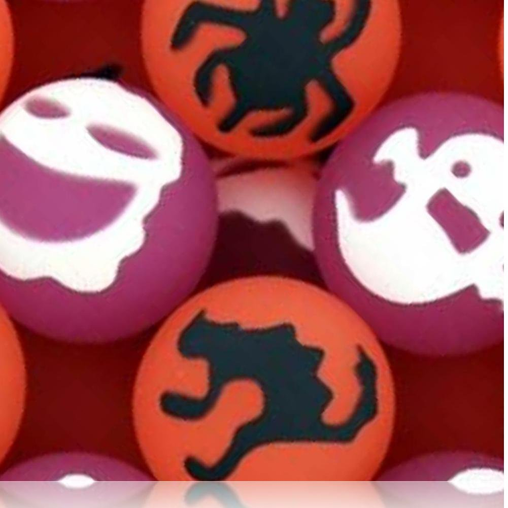 Custom & Unique {27mm} 2000 Bulk Pack, Mid-Size Super High Bouncy Balls, Made of Grade A+ Rebound Rubber w/ Crow Skull & Cross Bone Ghost Jack-o-Lantern Owl Cat Witch Bat (Pink, White, Black & Orange)