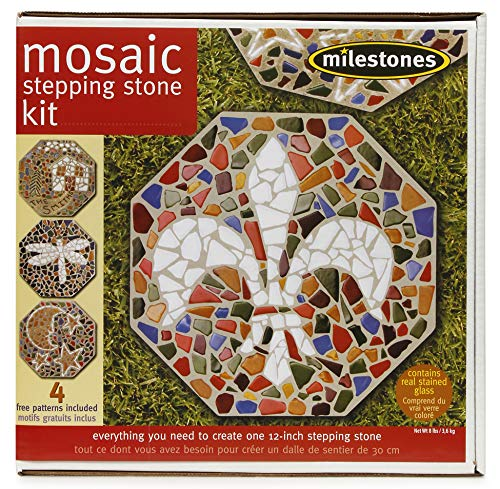 Milestones Mosaic Stepping Stone Kit, Makes a 12-Inch Stone