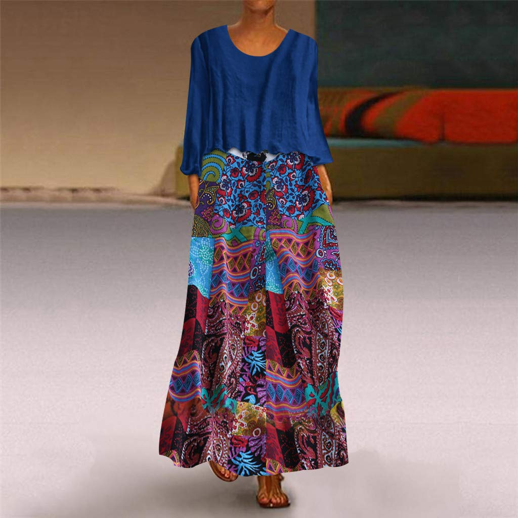 Ultramall Women Vintage Two Pieces Ethnic Print Long Sleeve O-Neck Plus Size Maxi Dress(Blue,XL) by Ultramall (Image #2)