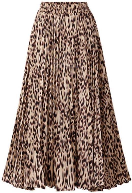 Ocamo - Falda Plisada con Estampado de Leopardo para Mujer ...