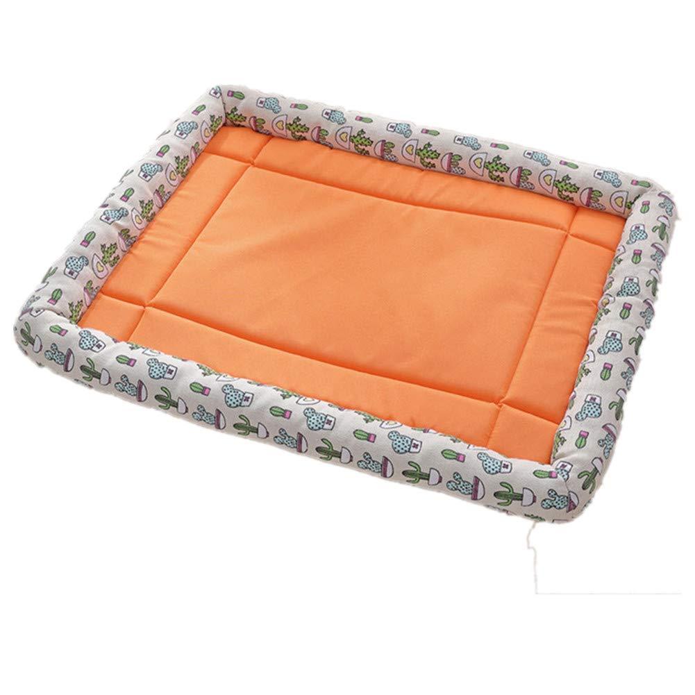 orange Large orange Large Dog Mat Crates Pad, Pet Bed Print Canvas Cat Litter Square Soft and Comfortable Pet Mat Suitable for Big Dogs,orange,L