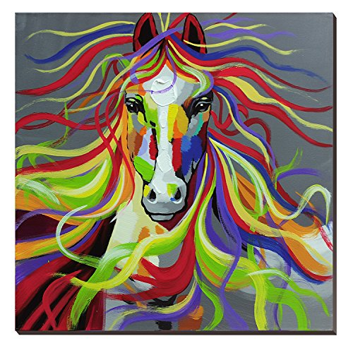 Wild Animals Wall (3Hdeko-Horse Oil Painting on Canvas 30x30inch Colorful Wild Animal Modern Wall Art Home Decoration for Bed Room,Stretched- Ready to hang!)