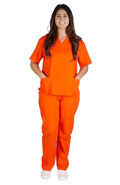 Mu0026M SCRUBS Womenu0027s Scrub Set Medical Scrub Top and Pants  sc 1 st  Amazon.com & Amazon.com: Womenu0027s Orange Prisoner Costume Halloween: Clothing