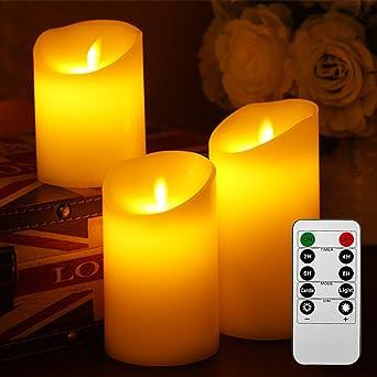 Liqoo 3er Set Flammenlose LED Kerzen Echtwachskerze Mit Beweglicher Flamme Timerfunktion Fernbedienung Elektrische Batteriebetriebene Kerze