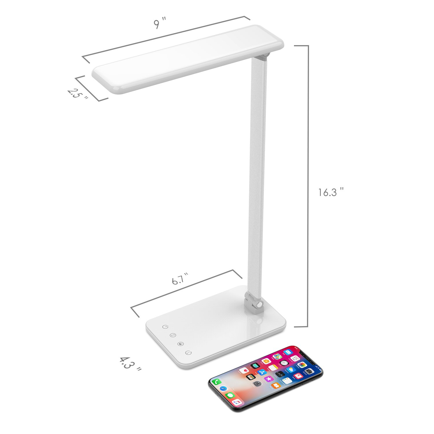 MoKo Dimmable LED Desk Lamp, 8W Touch-Sensitive Control Eye-Caring Working / Reading Table Lamp, Continuously Dimmable Brightness & Color Temperature, 1-Hour Auto Timer, Adjustable Arm & Head - WHITE by MoKo (Image #7)