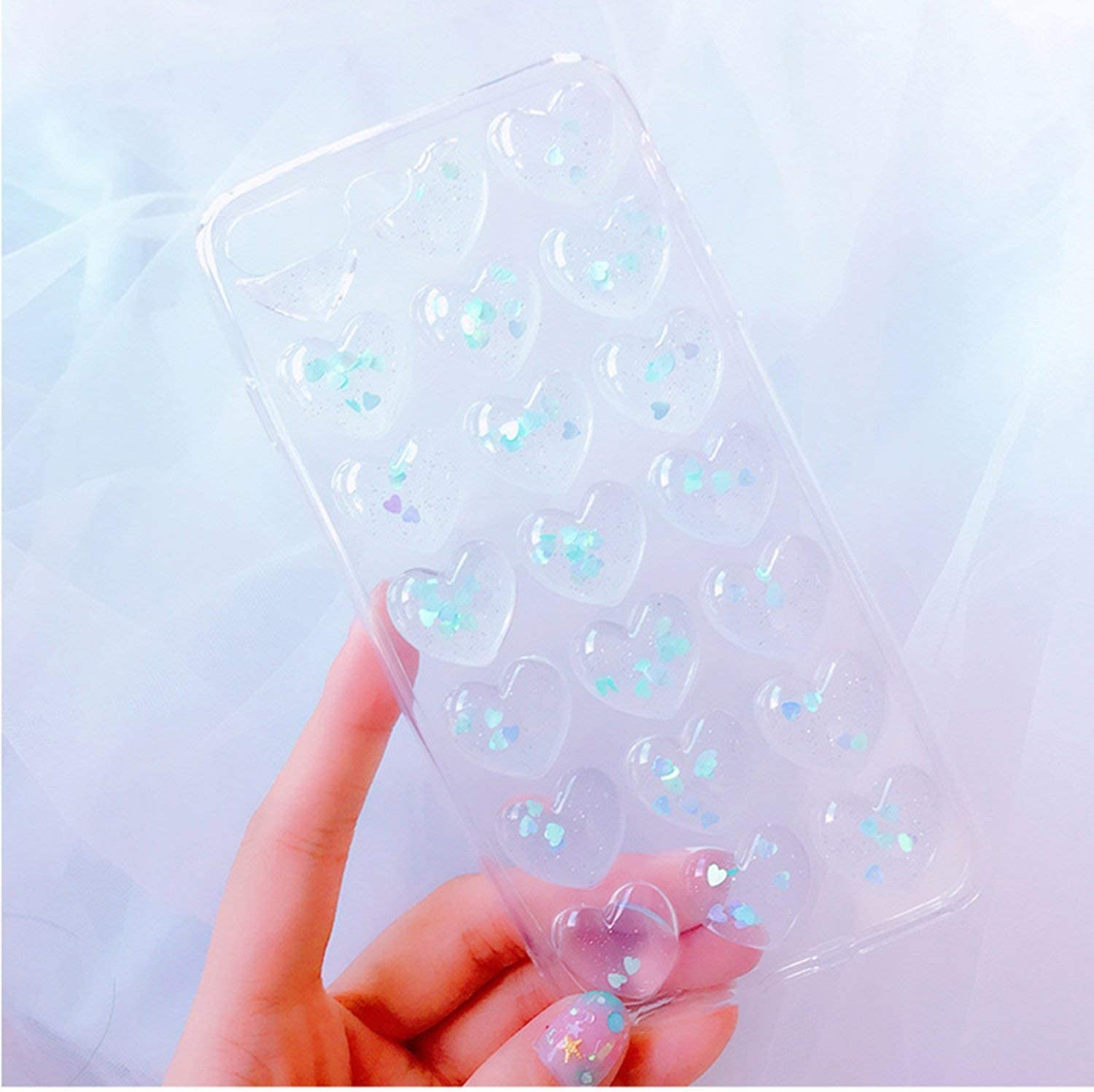 for Samsung Note 9 S9 Plus S8 Plus Cases 3D Glitter Love Heart Korean Clear Case for iPhone X Xr Xs Max 7 8 6S Plus Girly Cover,Pink,for Samsung S8