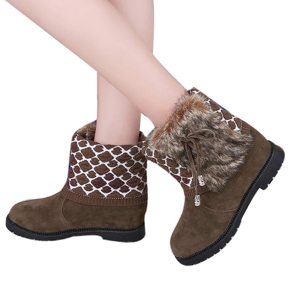 BBestseller-Botas botas mujer invierno, algodón botas de nieve de tubo corto femenino arco botas planas: Amazon.es: Ropa y accesorios