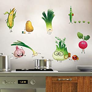 ufengke Vegetables Kitchen Wall Stickers DIY Carrot Onion Wall Decals Art Décor for Dining Room Cabinet Refrigerator