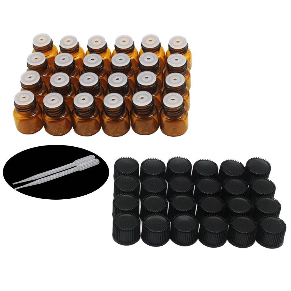 Yizhao Ambar Botellas de Aceite esencial de Vidrio Vacías 1ml,con Reductor de Orificio y Tapa,Para Aceites Esenciales, E-Líquidos,Aromaterapia,Perfumes,Masajes,Laboratorio de Química – 24 Pcs