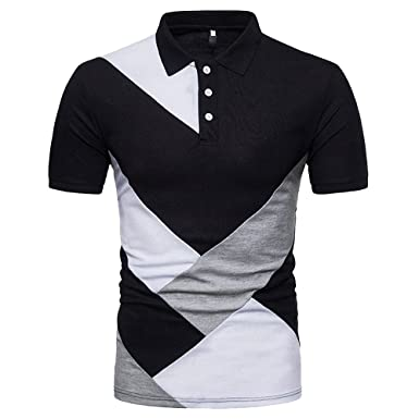 LITTHING Mens Casual Slim Patchwork Short Sleeve T Shirt Top Polo ...