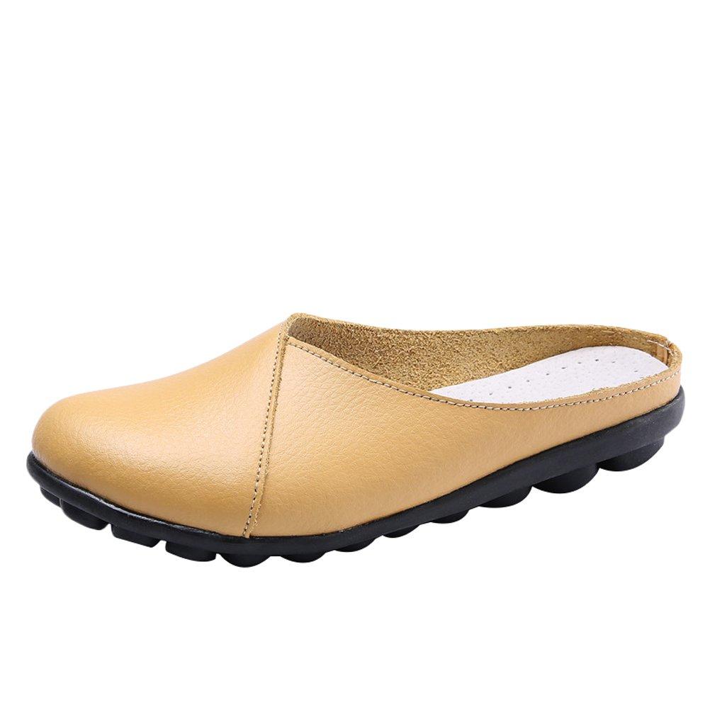 MatchLife Damen Mokassins Leder Flache Schuhe Freizeit Halbschuhe Slippers Pantoletten EU 34-42  42 EU|Style2-gelb