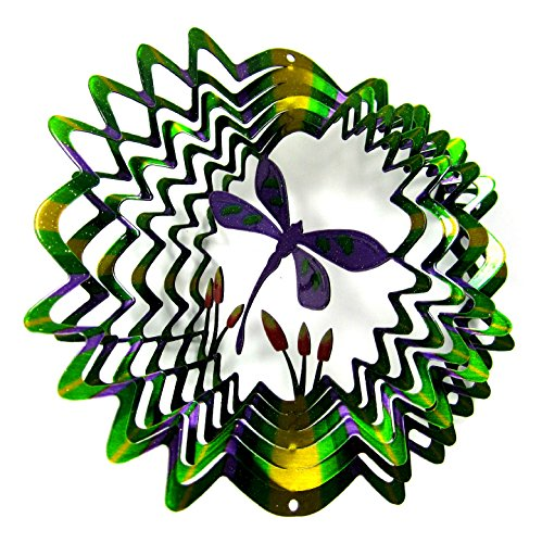 WorldaWhirl Whirligig 3D Wind Spinner Hand Painted Stainless Steel Twister Dragonfly (6.5