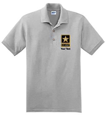 ce8699b79 Personalized custom embroidered U.S. Army star design on polo shirt at  Amazon Men's Clothing store: