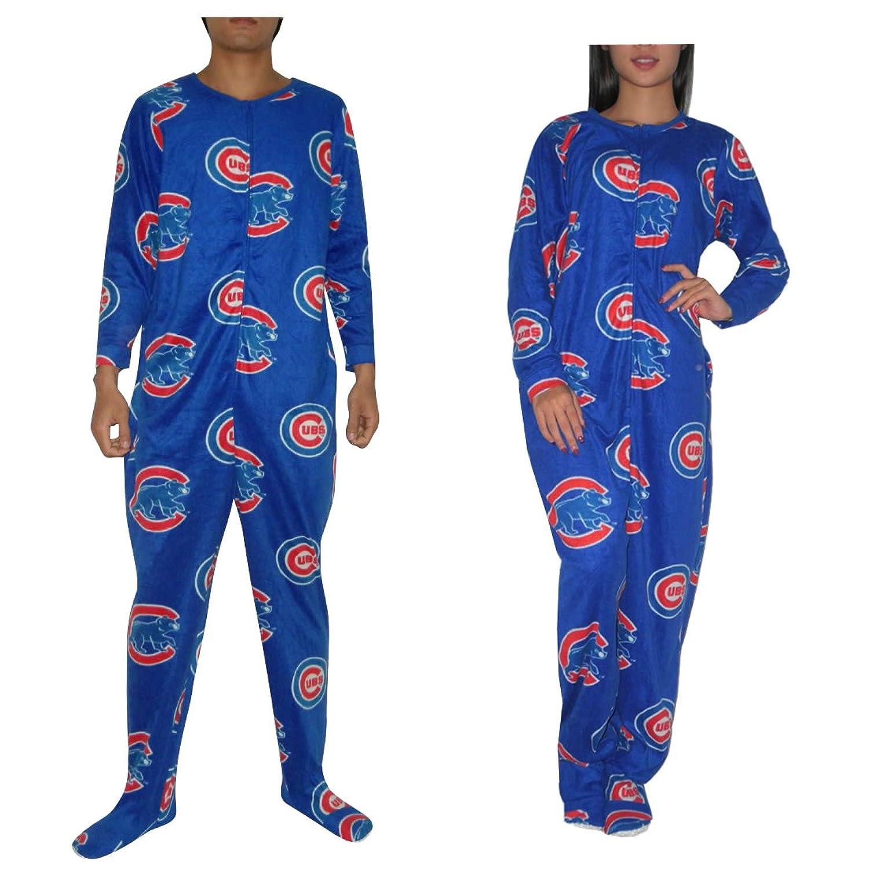 MLB Chicago Cubs Adult Polar Fleece e Piece Footed Pajamas