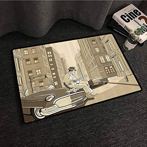 Jazz Music Decor Front Door Mat Large Outdoor Indoor Illustration of A Guitarist in an Old Street of New York Buildings Music Cityscape Easy to Clean W20 xL31 Beige -