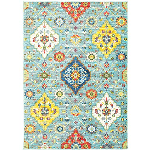 Living Comfort 6'7X9'6 Jaelyn JAL9294 6ft 7in X 9ft 6in Blue/Multi Transitional Floral Indoor Area Rug,