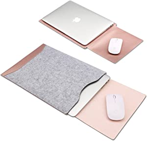 Soyan Leather and Felt Hybrid Laptop Sleeve for 13-Inch MacBook Pro 2012-2015 and 13-Inch MacBook Air 2011-2017, Fits Model A1466/A1502/A1425 (Rose Gold)
