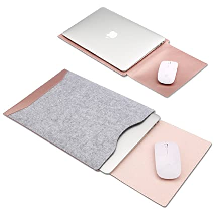 brand new fd400 89a04 Soyan Leather and Felt Hybrid Laptop Sleeve for MacBook 12 Inches (Rose  Gold)