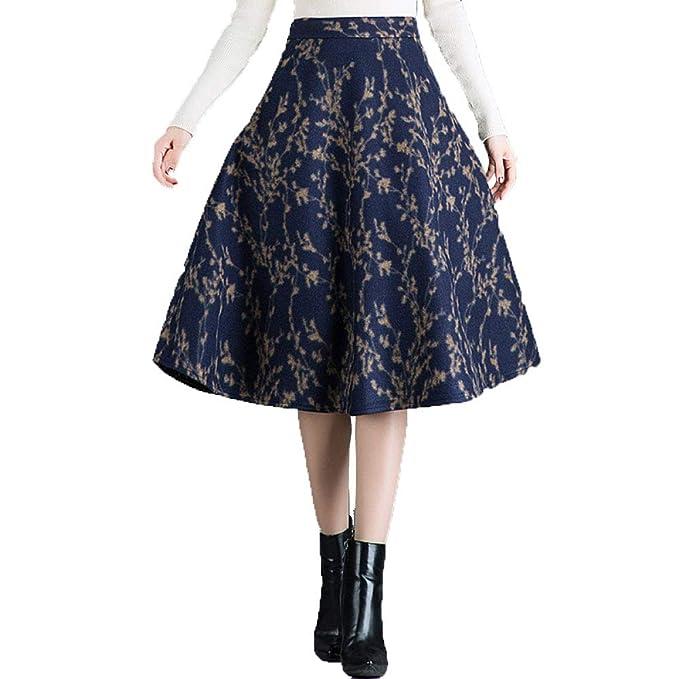 c19278361 NIAIS Falda Plisada De A-Line Floral De Lana para Mujer, Falda De ...