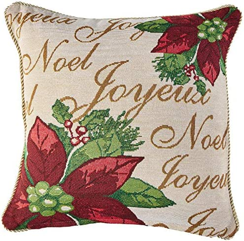 Violet Linen Decorative Christmas Tapestry Throw Pillow, 18 x 18 , Poinsettias Script Design